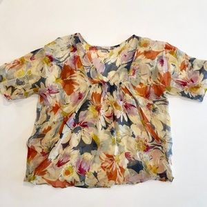 Earth-toned, floral, flowy blouse